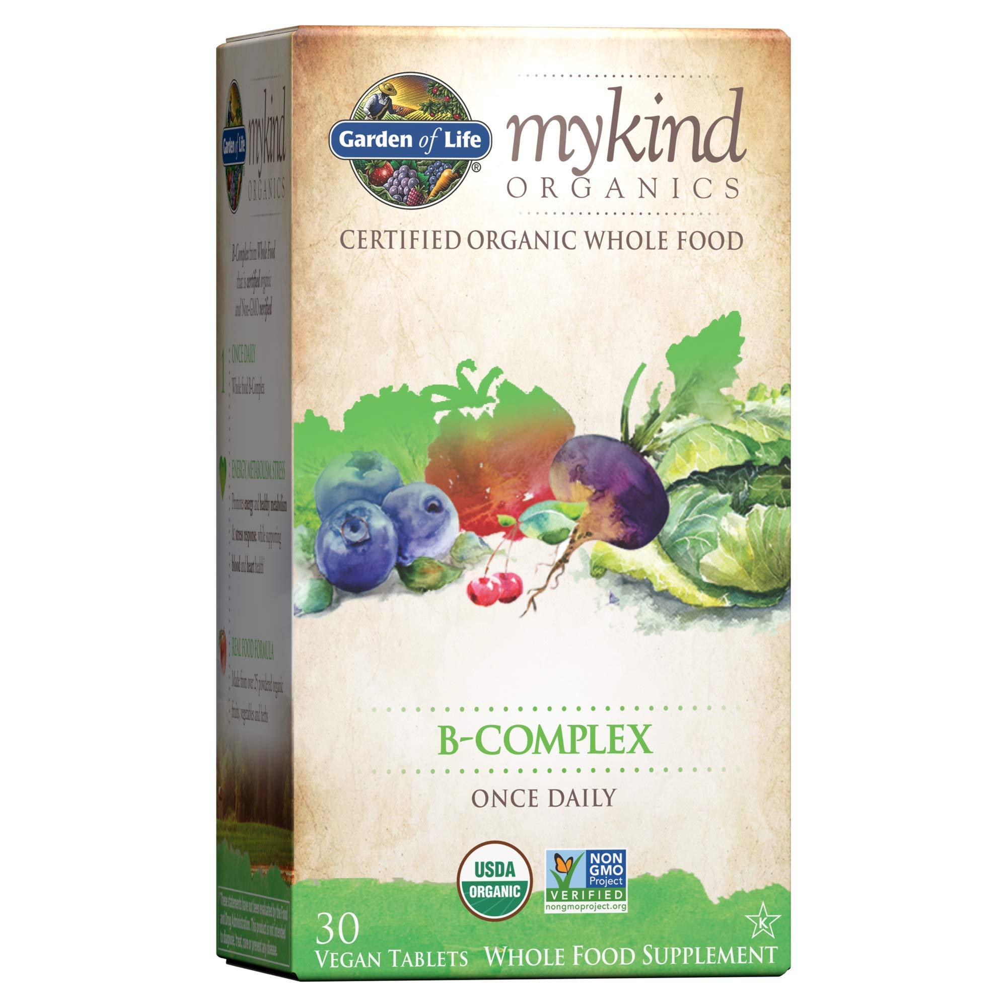 Garden of Life Mykind Organics Vitamin B Complex Once Daily, 30 Tablets, Vegan B Complex Vitamins with Folate, B12, Niacin, B6, Biotin, Organic Whole Food B Complex Supplement for Metabolism, Energy