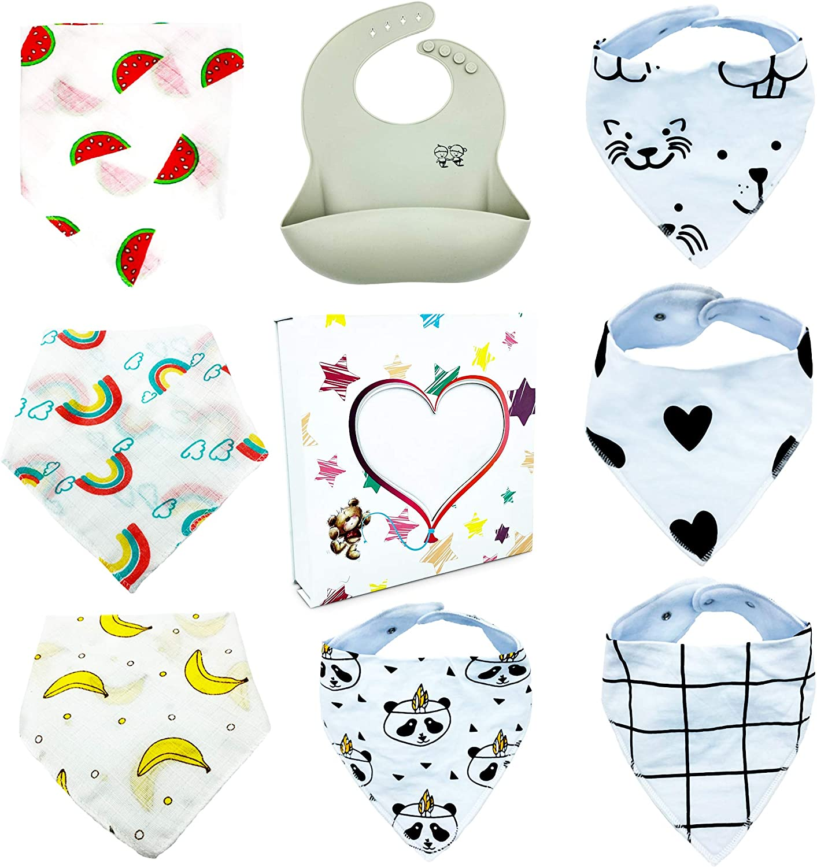 Premium Baby Bibs - Pack of 8 - 100% Organic Bandana Bibs - Eco Friendly Silicone Bib - Baby Shower Gifts - Easy to Wash - Baby Gift Set - Newborn and Toddler Care