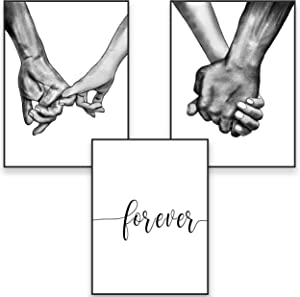 "Framed Canvas Wall Art Hands Forever Ready To Hang Black & White Line Drawing Artwork for Living Room Bedroom Love Wall Pictures Prints for Couples Home Decor (12"" x 16"" x 3 Panels, Hands Forever)"