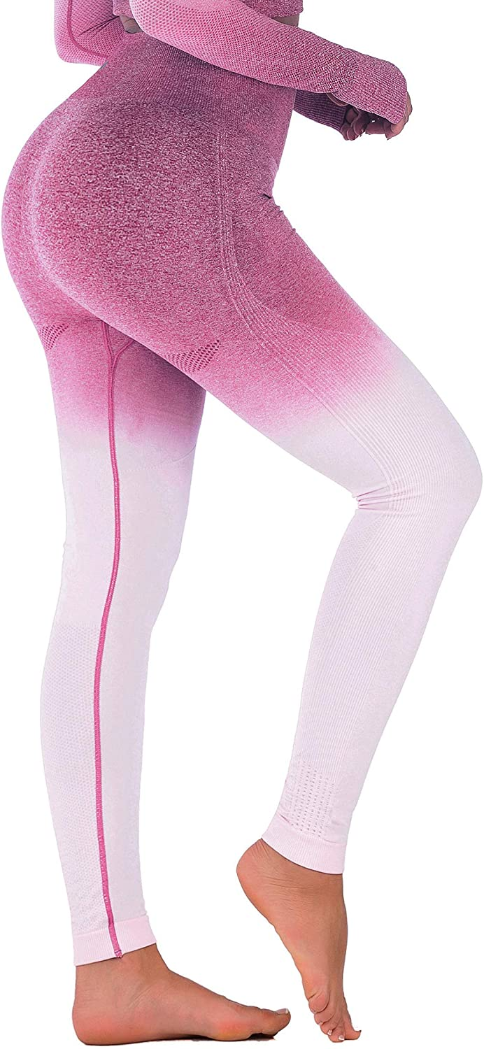 RUNNING GIRL Ombre Seamless Gym Leggings Power Stretch High Waisted Yoga Pants Running Workout Leggings