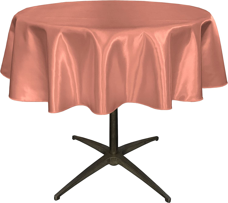 LA Linen Bridal Satin Round Tablecloth Dusty Rose 51-Inch