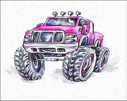Superbe 7Dots Art. Monster Truck. Watercolor Art Print 8u0026quot;x10u0026quot; On Fine Art