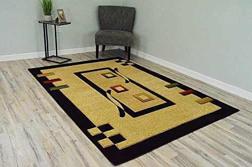 PlanetRugs Premium 3D Effect Hand Carved Thick Modern Contemporary Abstract Area Rug Design 1347 Black Beige 5 3 x7 6