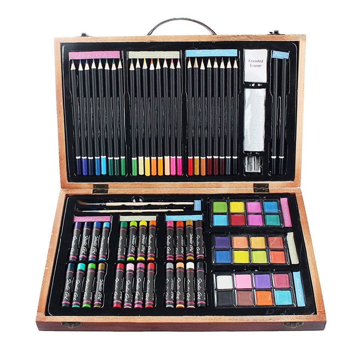 ALCST&CX Wooden Art Set (80 Piece) Deluxe Art Creativity Set and Professional Art Set Box for Colouring Beginners, Academy Wooden Box Arts Great Gift For Artists, Adults Teens, and Children