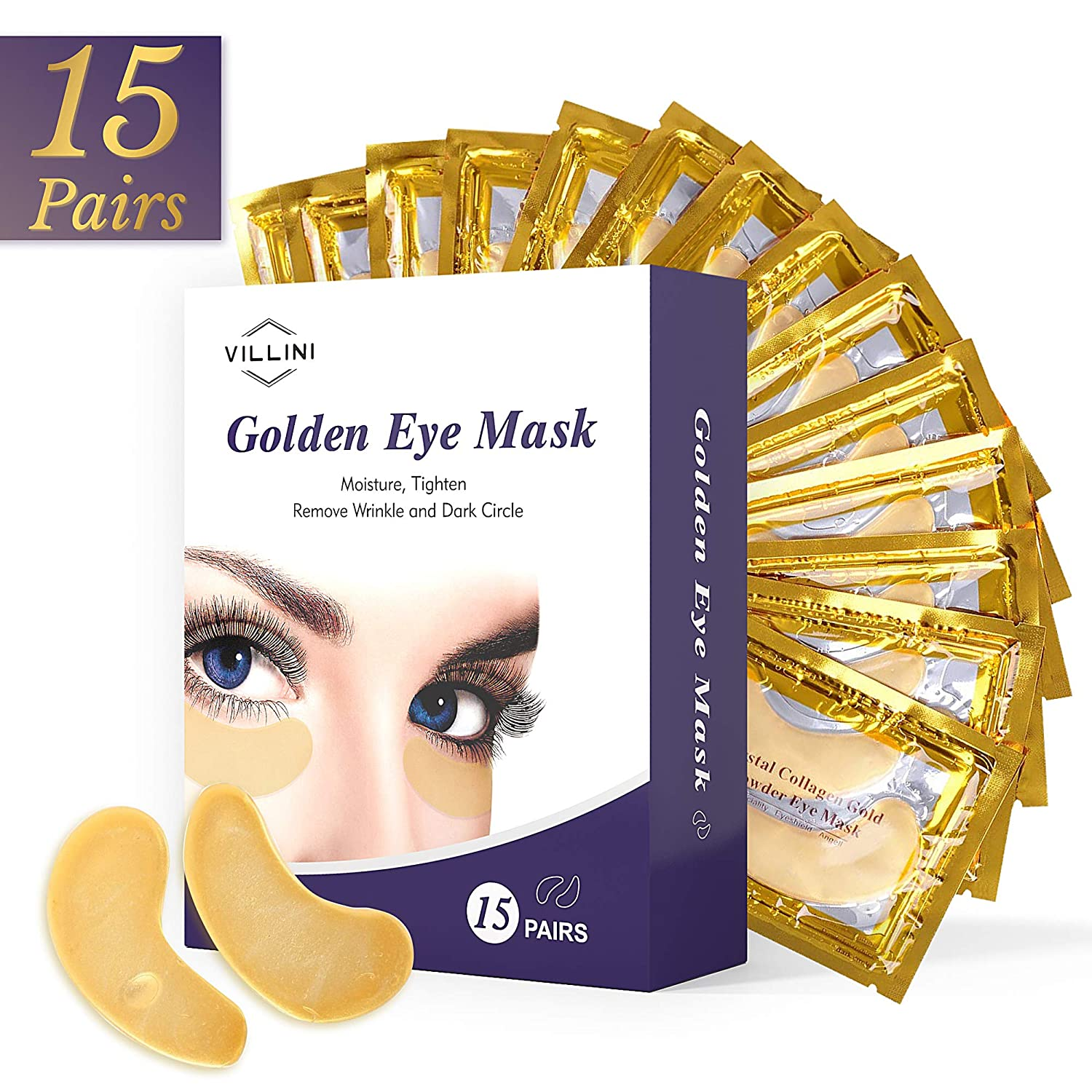VILLINI Under Eye Patches - 24K Gold Eye Mask - Anti-Aging Under Eye Pads - Eye Wrinkle Patches - Hydrogel Eye Treatment Mask for Puffy Eyes and Dark Circles - 15 Pairs