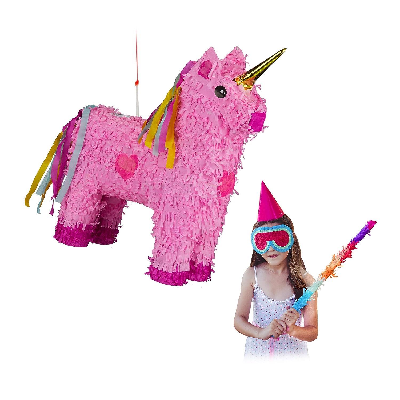 Relaxdays- Piñata Unicornio Rosa sin Relleno, Papel, 47 x 43 x 13 cm, Color (10024662)