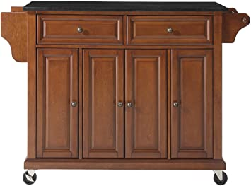 Crosley Furniture Rolling Kitchen Island with Solid Black Granite Top,  Classic Cherry