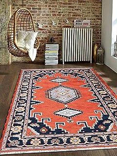Rugsotic Carpets Hand Knotted Afghan Woolen With Silk 5u0027 X 8u0027 Kazak Area Rug