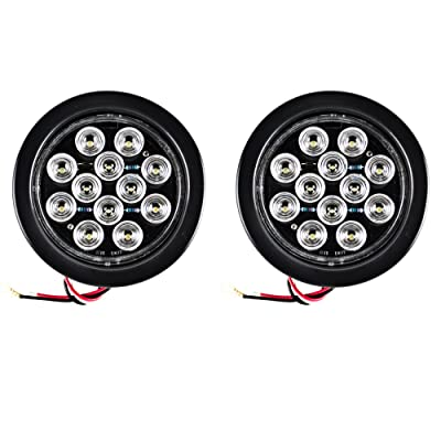 "Qty 2-4"" White 12 LED Round Backup Reverse Truck Light with Grommet & Pigtail: Automotive"