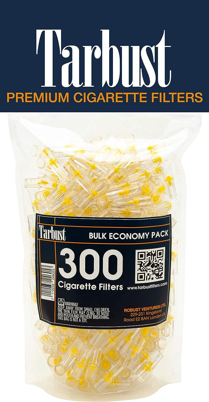 Tarbust Filtros para Cigarrillos, Filtros Desechables, Paquete Económico, 300 por Paquete | Con il Sistema de Bloqueo de Nicotina, de Alquitrán