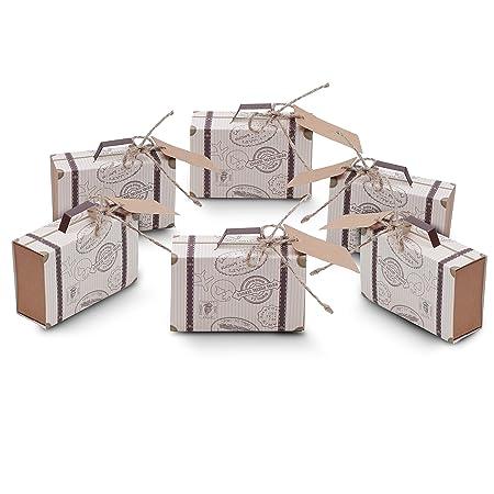 Cajas para Favores Mini Maletas Viaje - Regalos de Caramelos Invitados (50 Piezas) W7.5cm(2.95