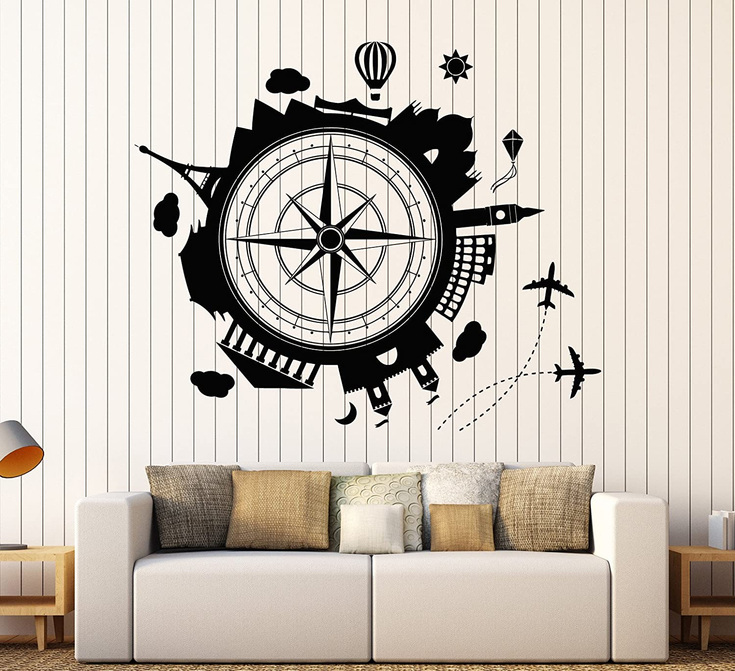 Amazon Com Vinyl Wall Decal Travel Agency Earth Wind Rose