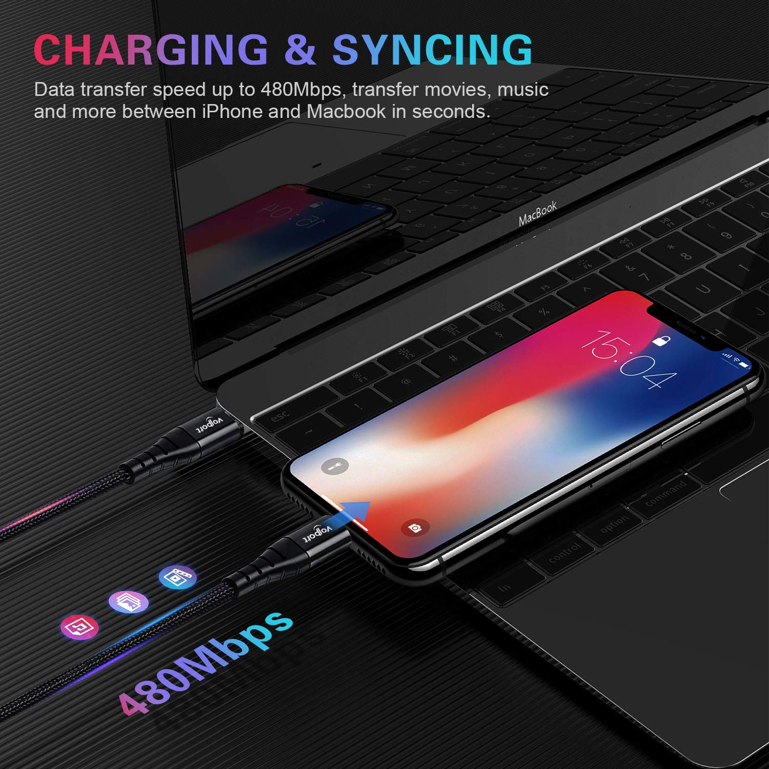 USB C to Lightning Cable Fast Charging VOLPORT Apple MFi Certified PD Charge Cord 3ft 1m for iPhone 11 Pro Max X XR XS Max 8 Plus iPad Pro Supports Power Delivery Black