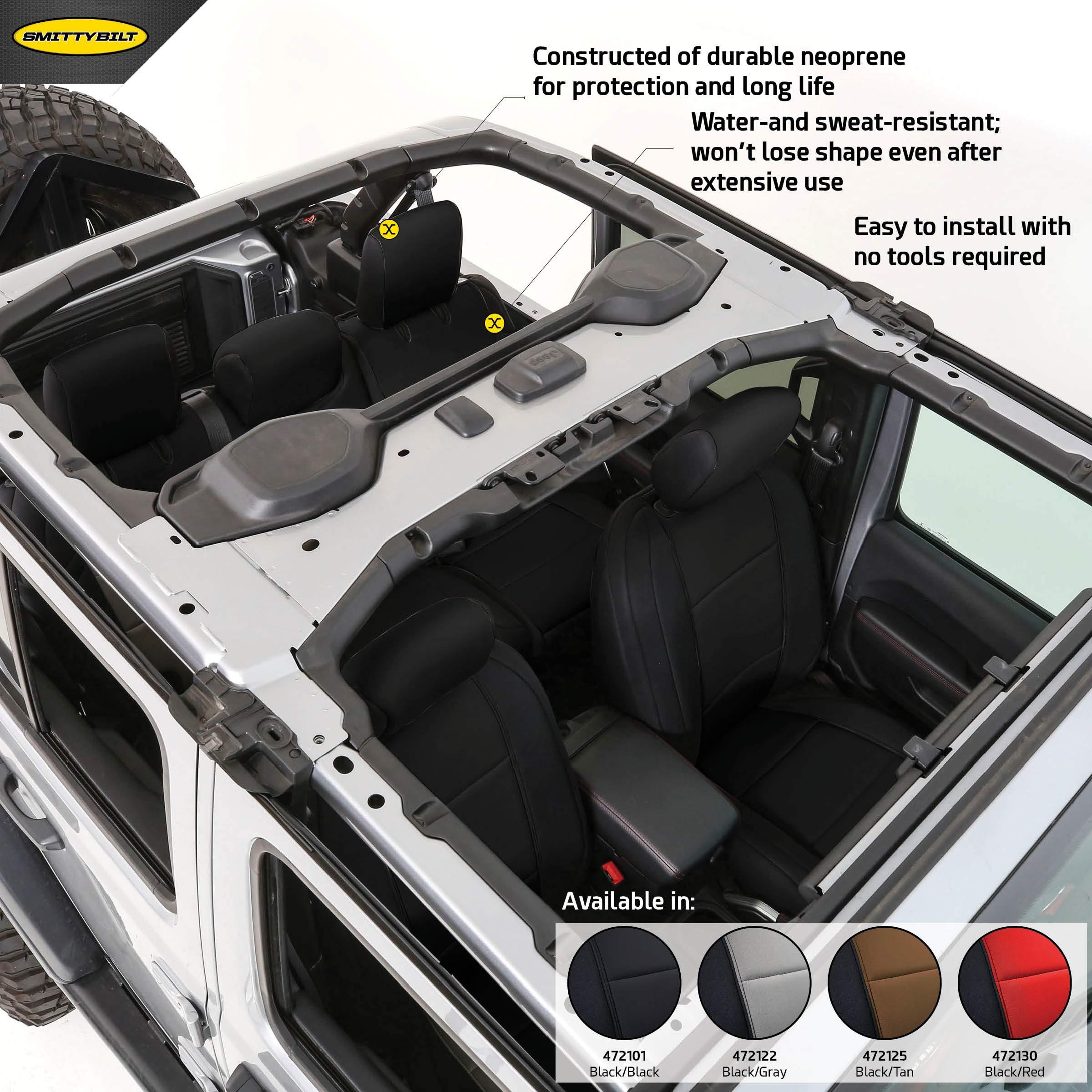 Smittybilt 472101 Black Neoprene Seat Covers for 2018+ Jeep Wrangler JL 4-Door by Smittybilt