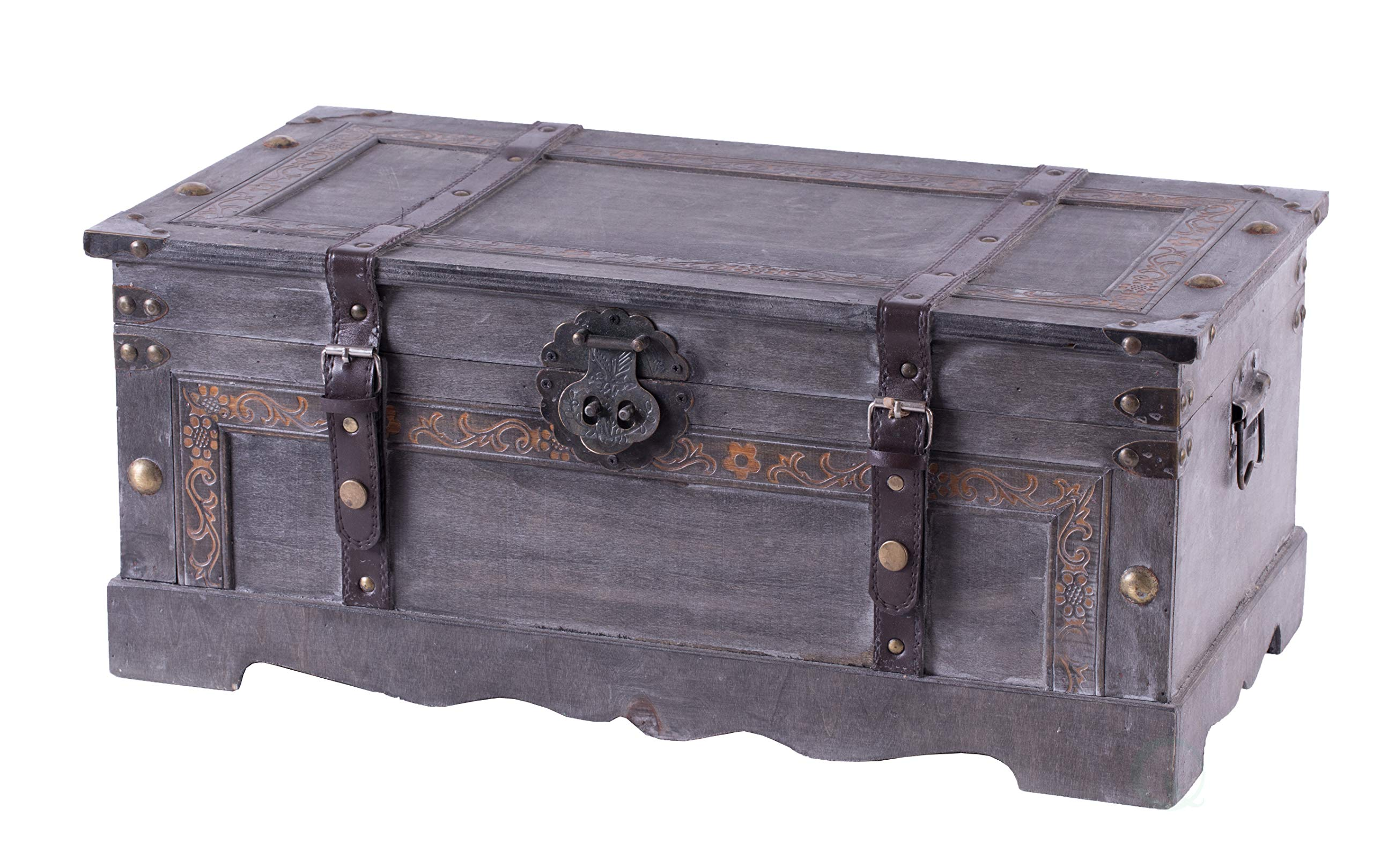 Vintiquewise Vintage Style Gray Wooden Storage Trunk, by Vintiquewise