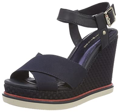 Tommy Hilfiger Sporty Stretch Wedge Corporate, Espadrilles Femme, Bleu (Midnight 403), 37 EU