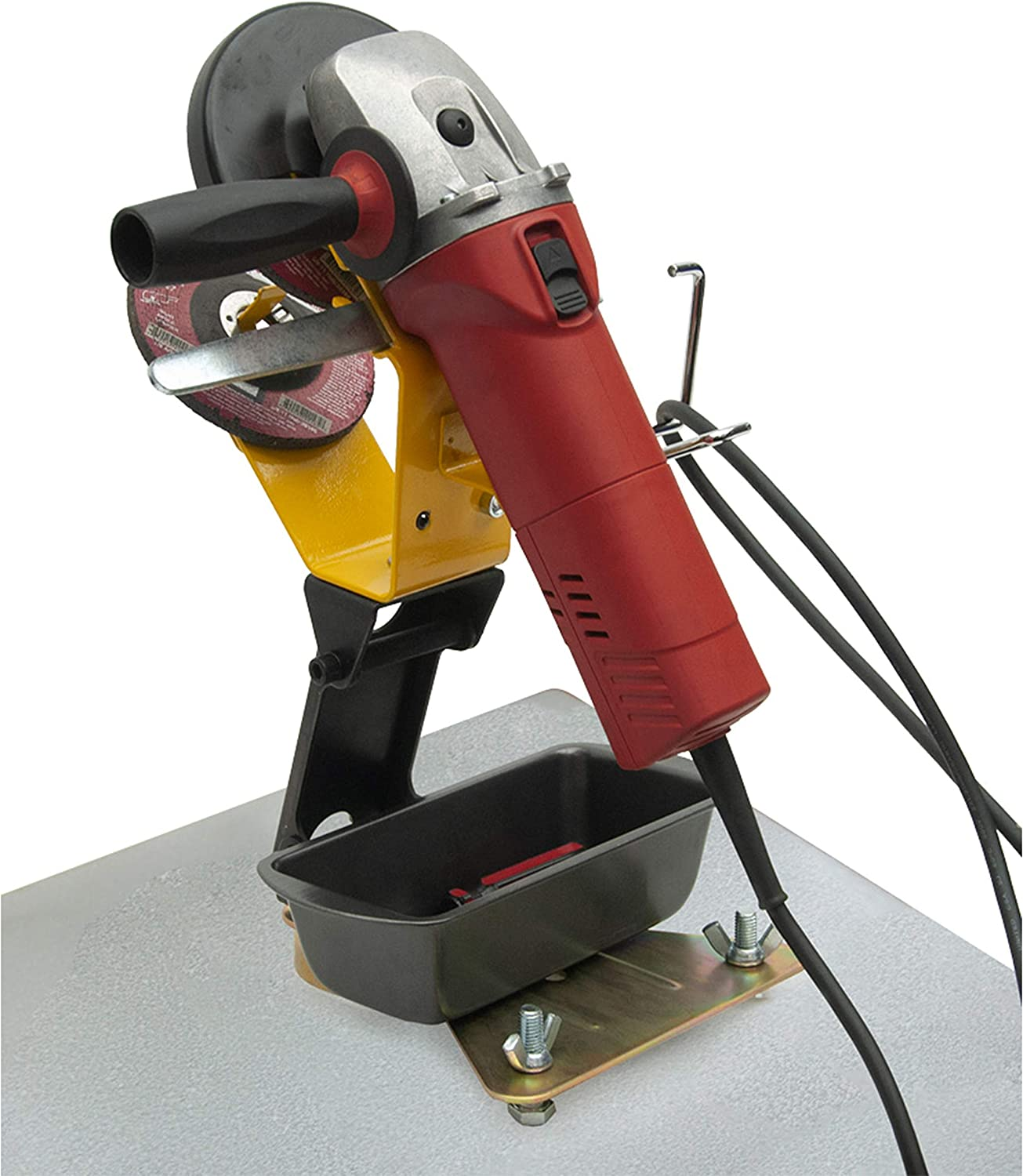 Strong Hand Tools Anti-tipping plate with Part Storage Grinder Rest with Adjustable Cable Hanger Height /& Angle Adjustable