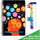 """Dated Middle School or High School Student Planner for Academic Year 2018-2019 (Matrix Style - 5.5""""x8.5"""" - Subjects Cover) - Bonus RULER / BOOKMARK and PLANNING STICKERS"""