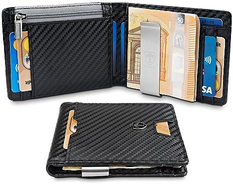 """febfe899a4 TRAVANDO Portafoglio uomo piccolo con protezione RFID """"LONDON"""" Porta carte  di credito con clip"""