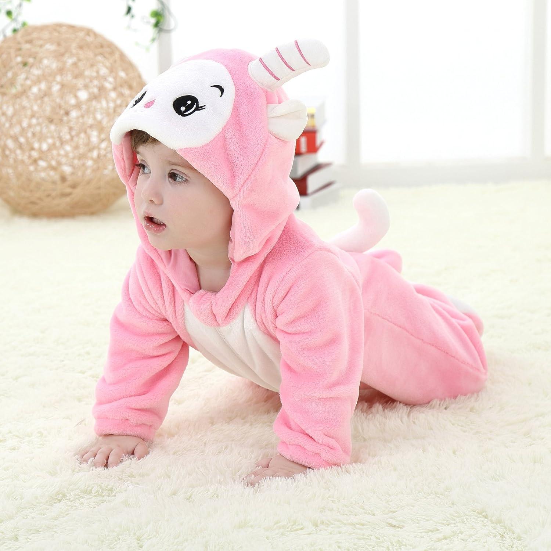 BabyPoem Unisex-Baby Flannel Romper Animal Onesie Pajamas Outfits Suit