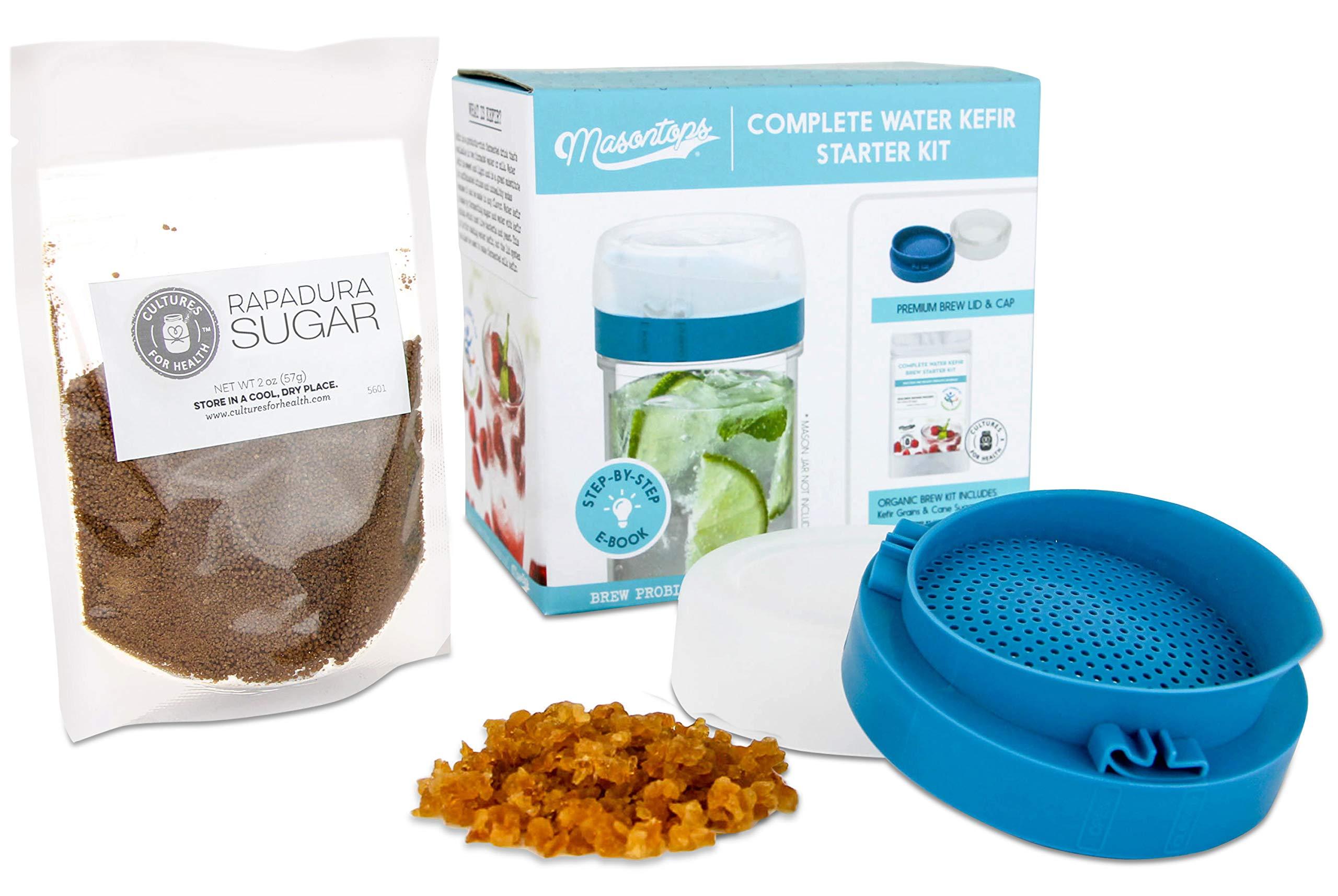Masontops Complete Kefir Making Starter Kit - With Plastic Strainer Cap, Starter Fermentation Grains & Specialty Sugar by Masontops