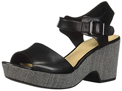 d96799cf799 CLARKS Women s Maritsa Janna Wedge Sandal Black Leather 100 ...