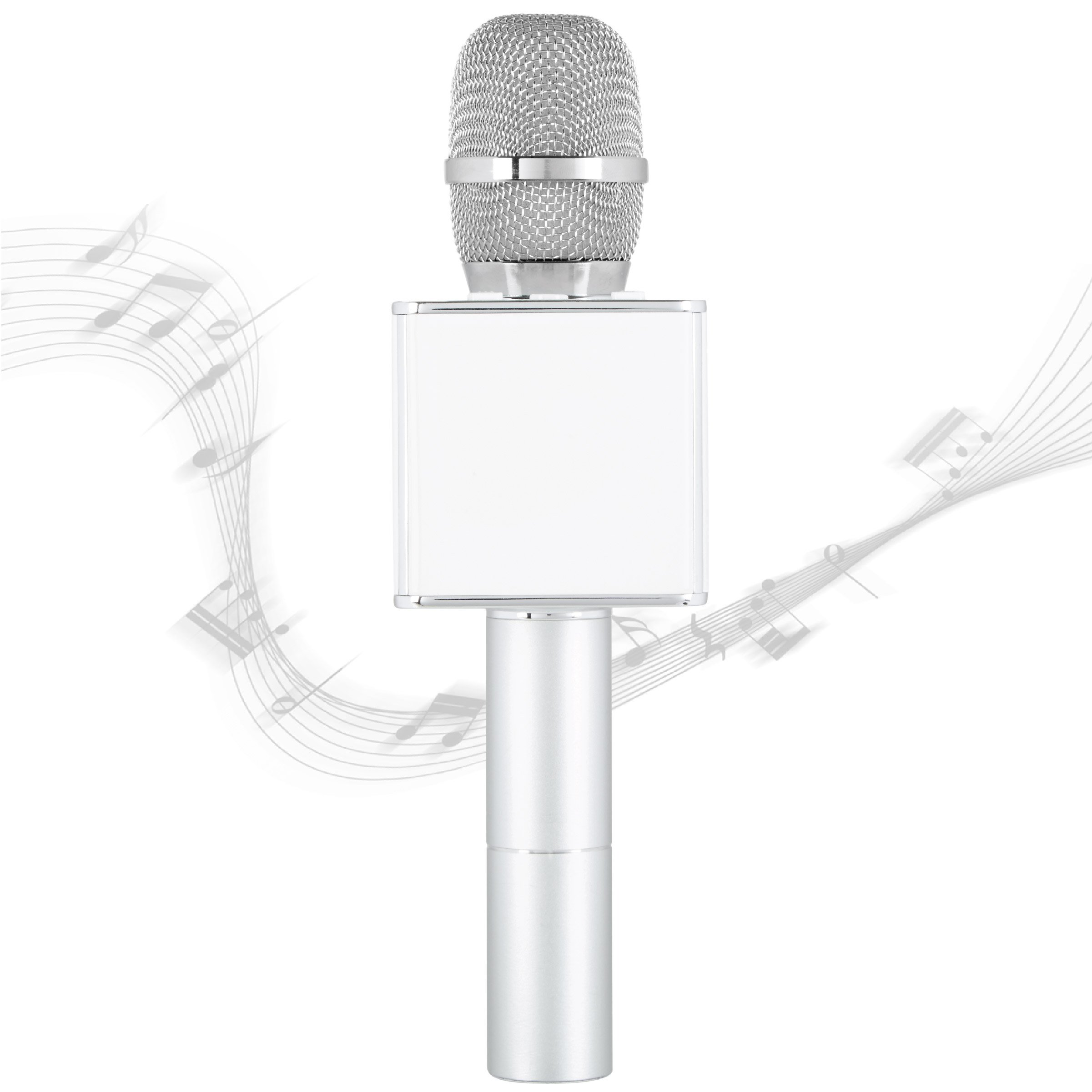 SHARPER IMAGE Bluetooth Music Stream Karaoke Microphone with Built-in Speaker, Bluetooth & Smartphone Compatible, Silver by Sharper Image