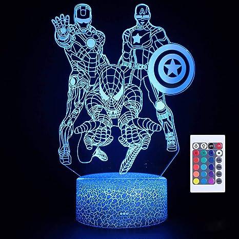 LED illusion CAPTAIN AMERICA 7 Color table Night Light Lamp Birthday Gift Holida