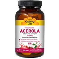 Country Life Chewable Acerola Berry Flavor - 90 Wafers - Supports Immune Health - Includes Antioxidant Properties