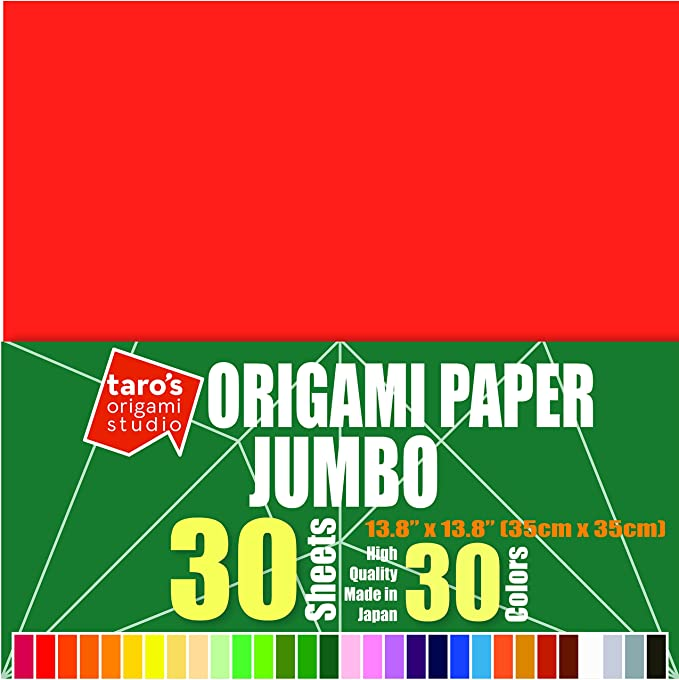 Taros Origami Studio TANT Jumbo 13.4 Inch Double Sided 50 Colors 50 Sheets Square Easy Fold Premium Japanese Paper for Origami Artist from Beginner to Expert Made in Japan