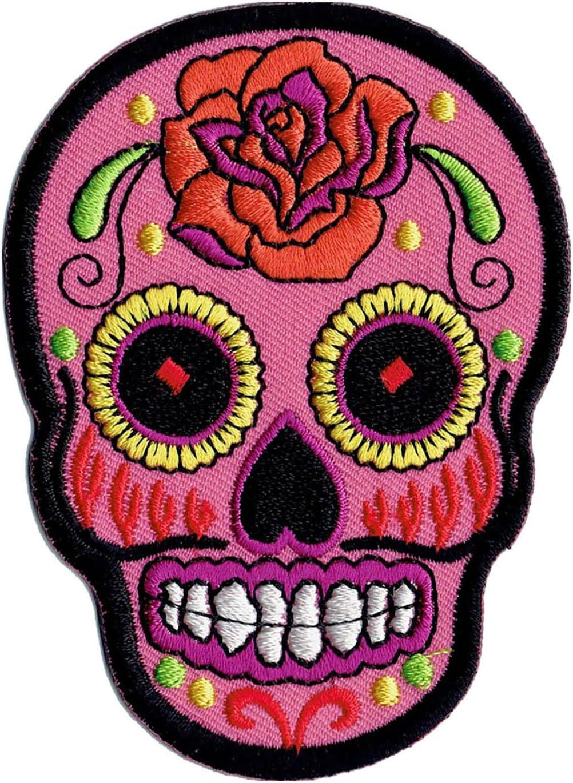 color rosa Parche para planchar con dise/ño de calavera mexicana