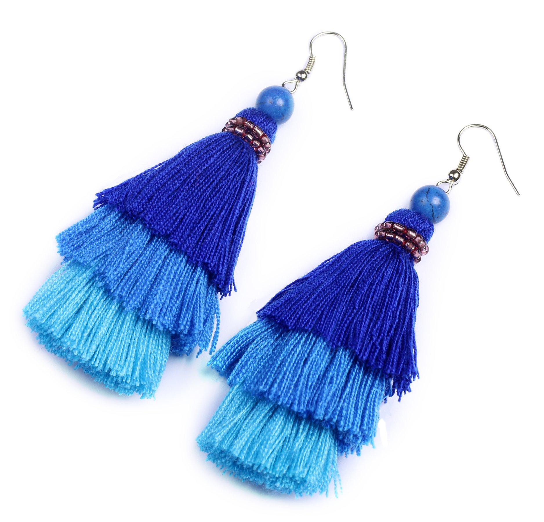 AKITAI Bohemian Jewelry Unique Ideas Blue Layered Tassel Earrings Boho Ethnic Handmade Gypsy Style