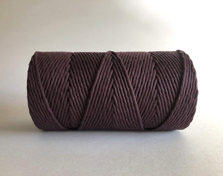 MeriWoolArt salvia calidad de algod/ón reciclado y viscosa Cuerda de macram/é natural de 250 m de cuerda de macram/é supersuave con 4 mm de giro sencillo