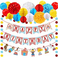 30pcs Carnival Circus Party Decorations Supplies, Carnival Birthday Party Ideas, Circus Happy Birthday Banner Balloons…