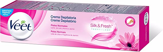 Veet Silk & Fresh, Crema Depilatoria para Pieles Normales con Leche de Lotto y Fragancia de Jazmín - 200 ml: Amazon.es