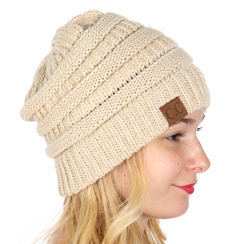 11690dd8d7a SERENITA C.C Unisex Warm Chunky Soft Marled Cable Knit Slouchy Beanie Hat