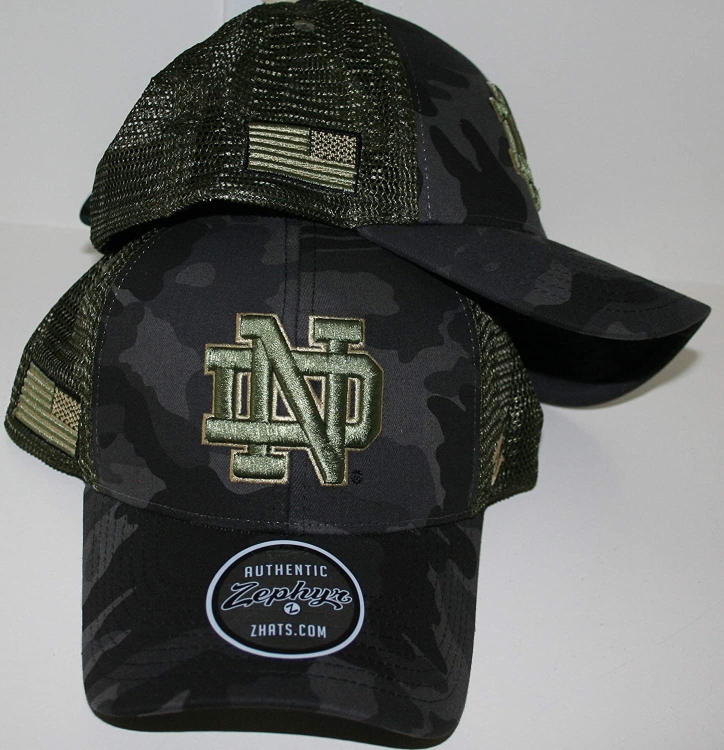 University of Notre Dame Fighting Irish ND Green//Tan//Black Camo Operator Big Rig Olive Mesh American Flag Snapback Adjustable Adult Mens Youth Baseball Hat//Cap
