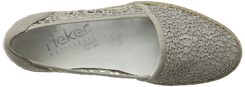 Rieker Damen / 47850 Slipper Grau (Staub-silber/Staub-silber/Staub / Damen 42) d52189