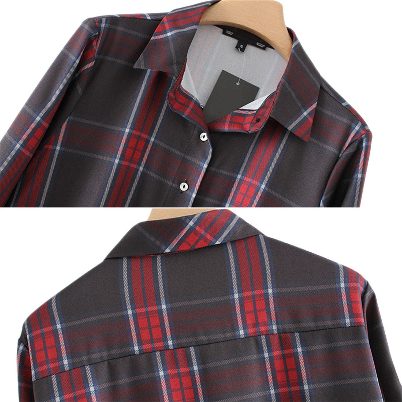 Feilongzaitianba Pocket Plaid Blouse Shirts Women Casual Long Sleeve Office Plus Size Women Tops Xy3025