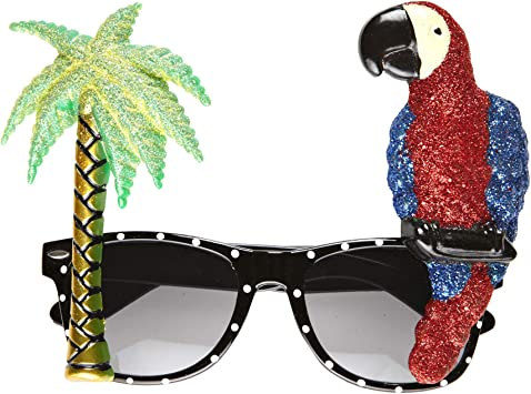 Novelty Parrot Palm Tree Glasses, Tropical Style, One Size