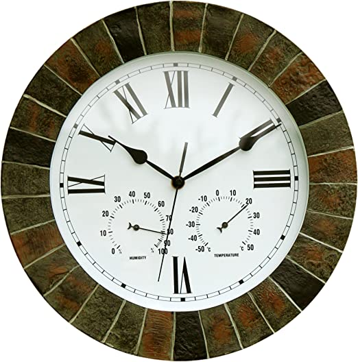 About Time Reloj de pared, efecto de jardín, con termómetro e higrómetro – 35, 5 cm: Amazon.es: Jardín