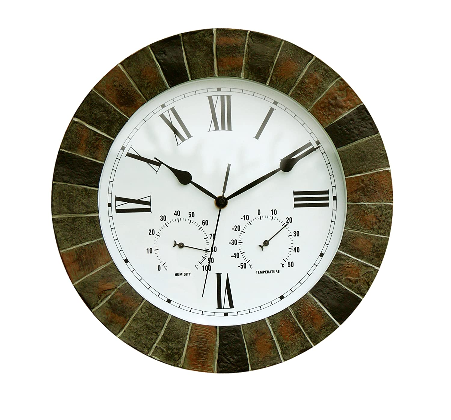 About Time Slate Effect Garden Outdoor Wall Clock with Thermometer and Hygrometer - 35.5cm (14