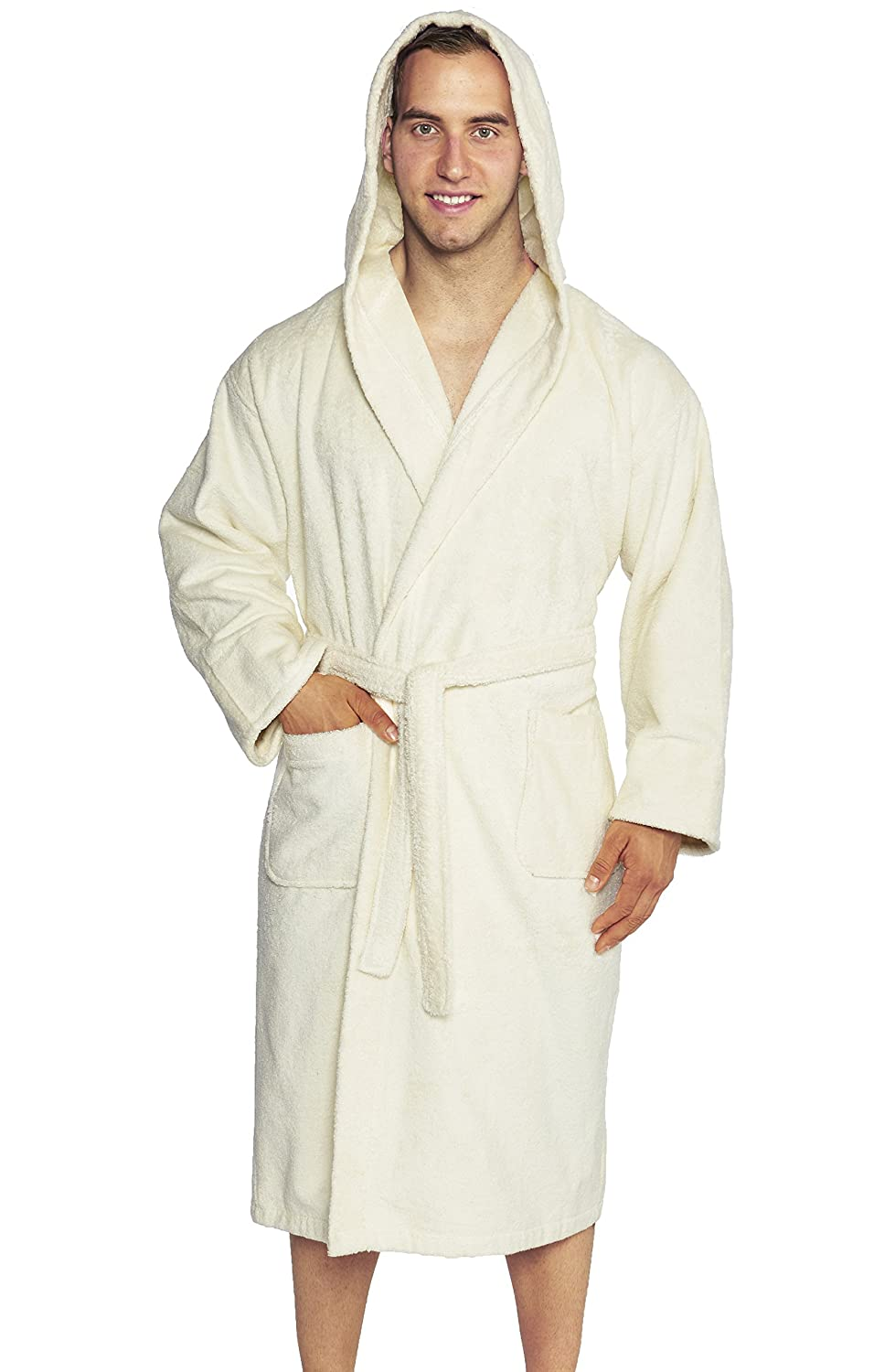 100/% Combed Pure Turkish Cotton Made in Turkey /… Charcoal One Size Fits Most Hooded Terry Bathrobe Unisex