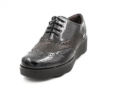 Zapatos mujer plataforma cuña muy cómodo PITILLOS - plantilla extraible - negro combinado grabado negro,