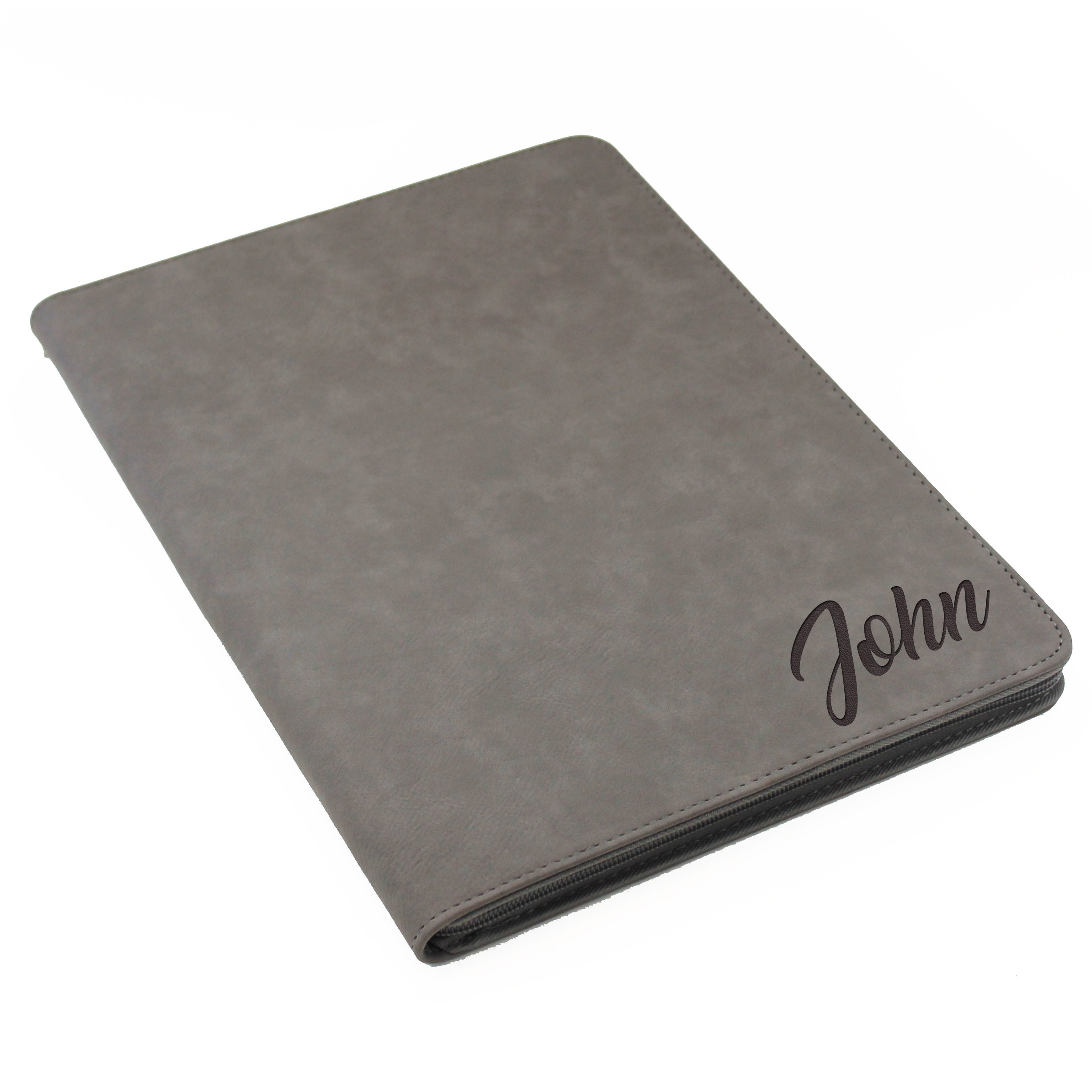 Monogrammed Portfolio with Zipper, Custom Personalized Padfolio Pad Holder
