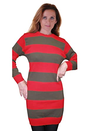 46330dd6ac6 Ladies Freddy Red   Green Striped Knitted Jumper Womens Halloween and Fancy  Dress Parties  Amazon.co.uk  Clothing
