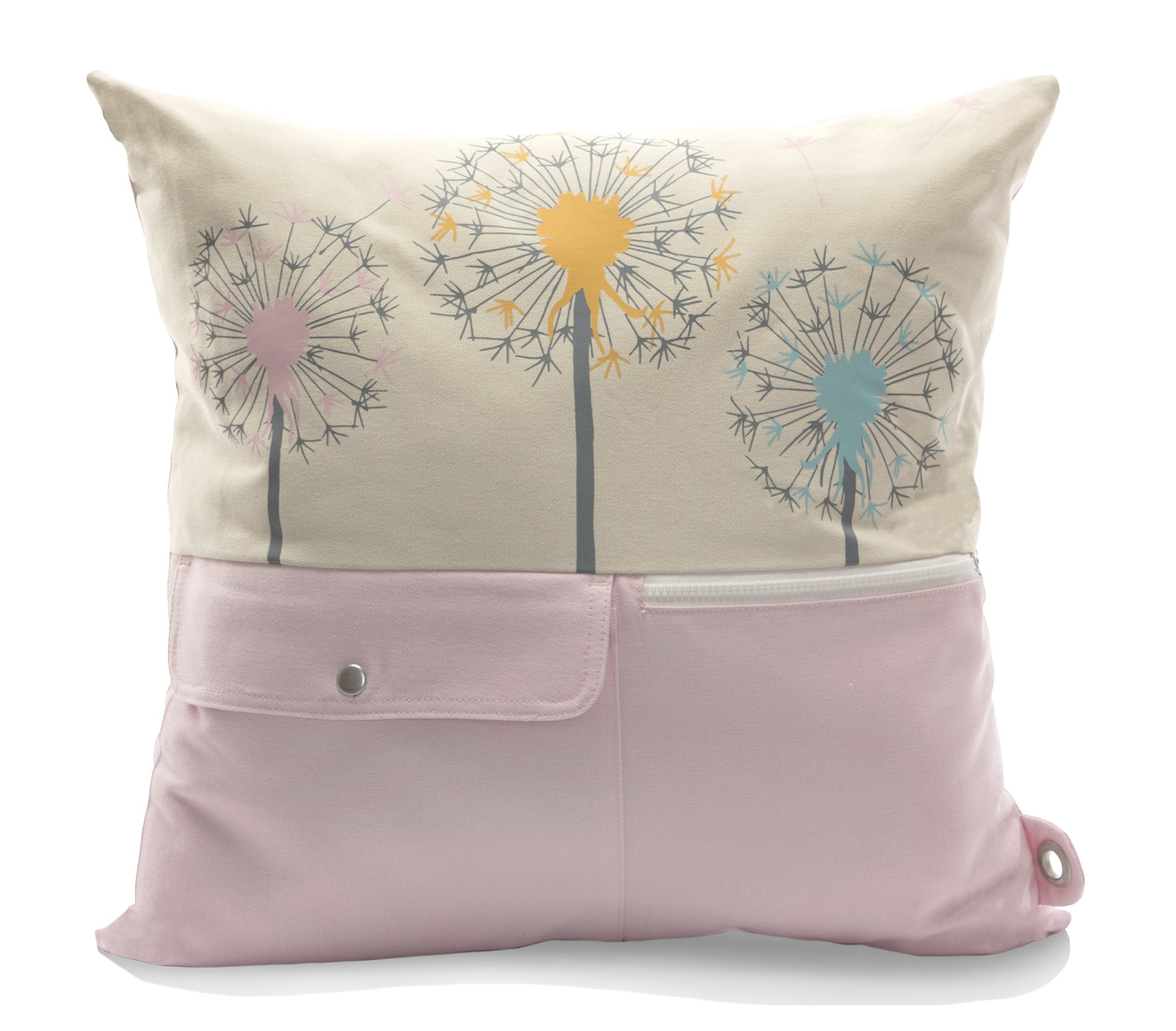 Mimish Naturalist Storage Pillow with Pockets and Exposed Zipper, Medium