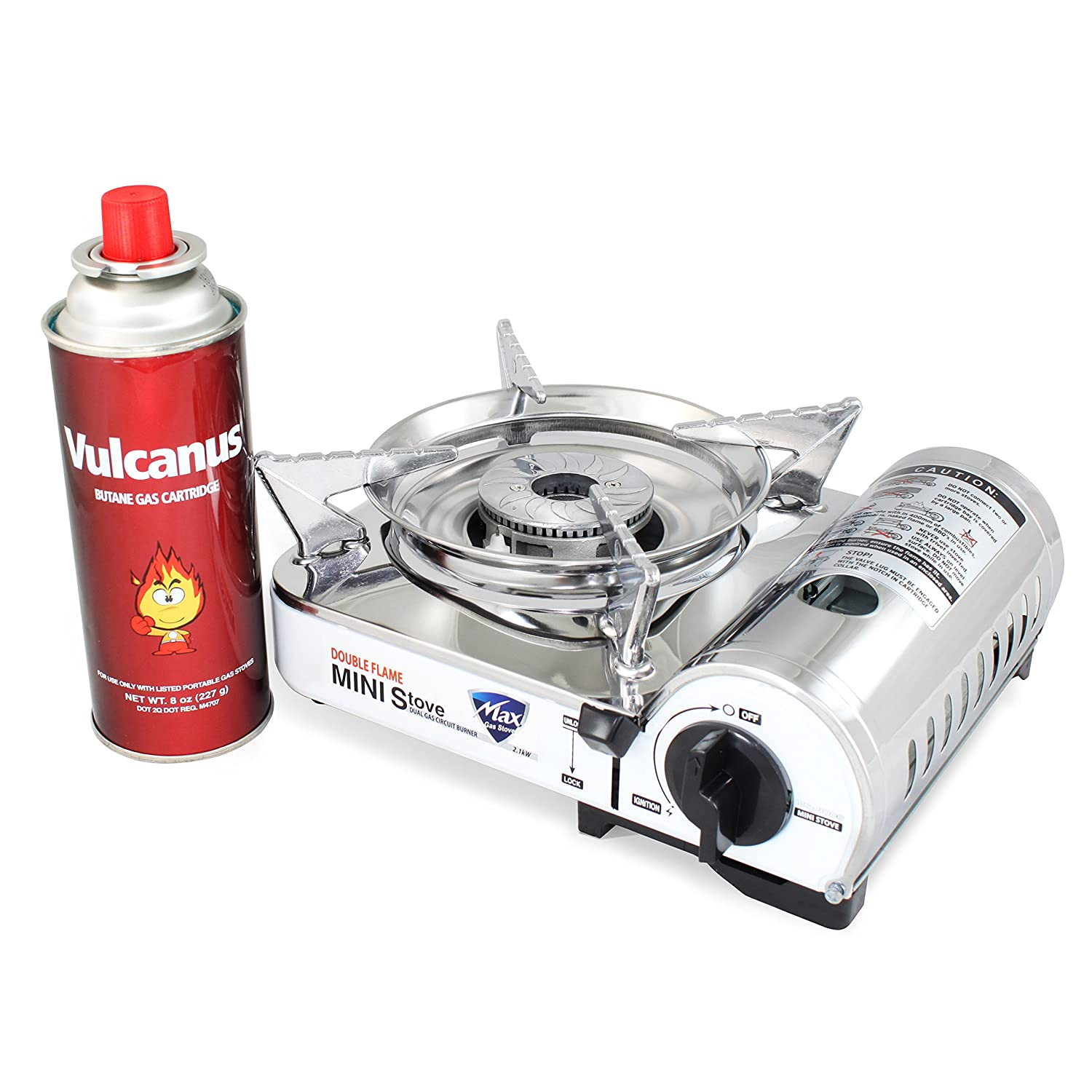 Vulcanus MS-8000 Mini Butane Gas Stove, Stainless Steel top plaet. 9.6 x 8 x 3.9 Gas-1 Butane Gas Cartridge 1-CAN