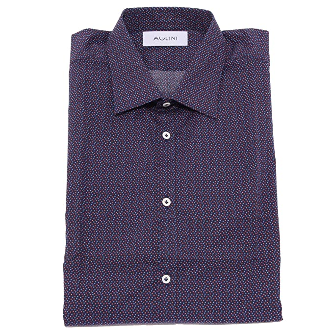 differently 9b1c4 a5fed AGLINI 1894X Camicia Uomo David Slim Blue/Red Cotton Shirt ...