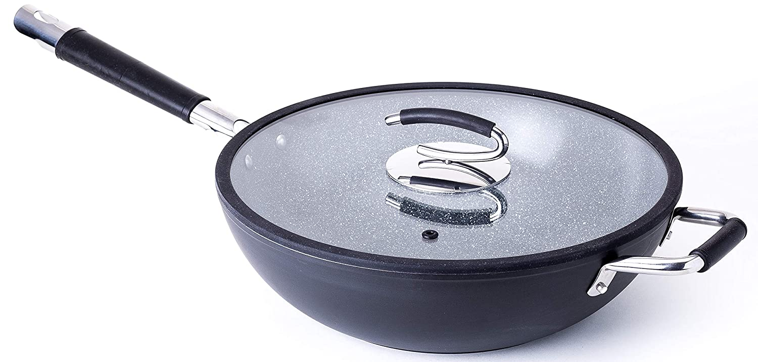 Ceramic Wok with Natural Nonstick Coating, Lid Included - By DaTerra Cucina